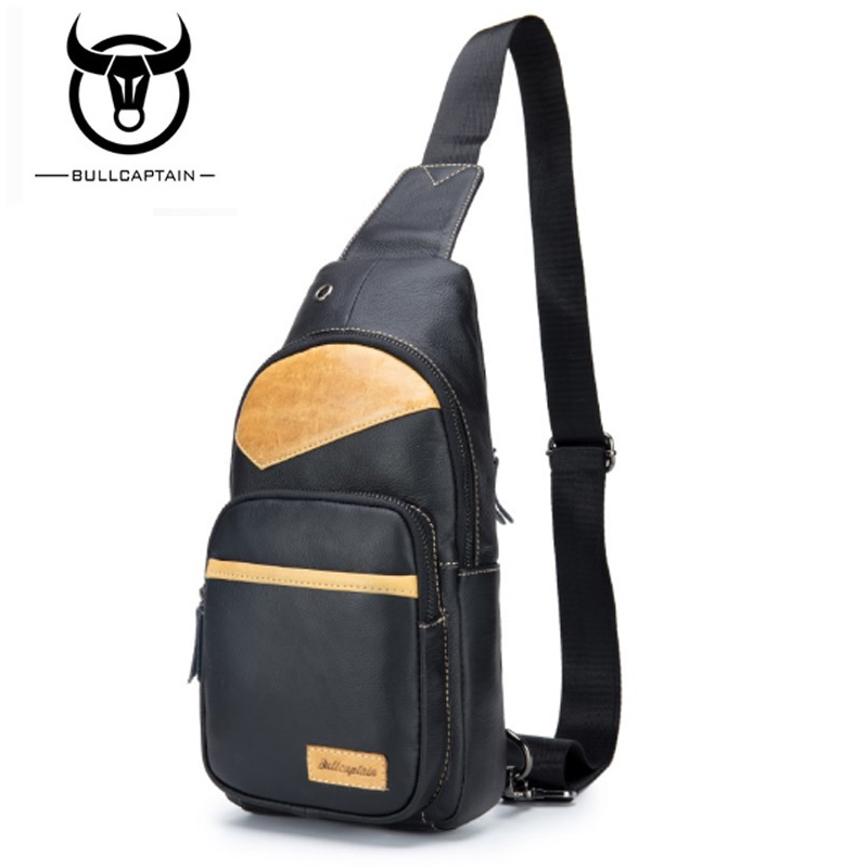 BULLCAPTAIN MEN CHEST BAGS Fashion Genuine Leather Crossbody Bags men casual messenger bag Small Brand Male Shoulder Bag 4color