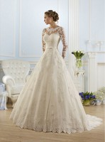 Vestido De Noiva 2015 New Fashionable Elegant High Neckline A Line Long Sleeve Wedding Dress Lace