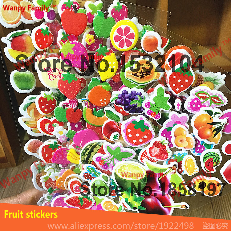 Colorful fruit vegetable stickers,Cute Strawberry fruit stickers For Kids rooms decor stickers Childrens Toys
