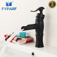 FYPARF Bathroom Faucet Black Faucet Oil Rubbed Bronze Bathroom Basin Faucet Waterfall Basin Mixer Single Handle Tap Mixer B1018 стоимость