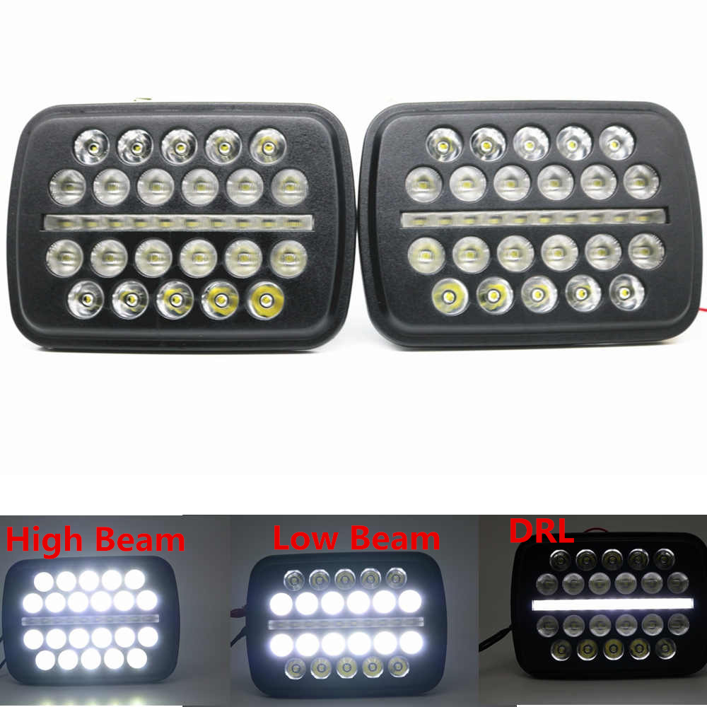 For Jeep Cherokee XJ 1984 to 2001 lamps 5x7 INCH led truck front headlight 6x7Inch square LED headlamp daymaker for jeep RXJ.B.jRRpF2g