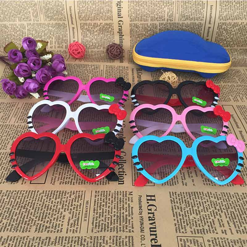 Toddler Sunglasses Heart Shaped Bowknot Plastic Dark Glasses Children Dress Up Photo Props