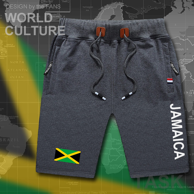 Jamaica Mens Shorts Beach Man Men's Board Shorts Flag Workout Zipper Pocket Sweat Bodybuilding 2017 Cotton Brand JAM Jamaica