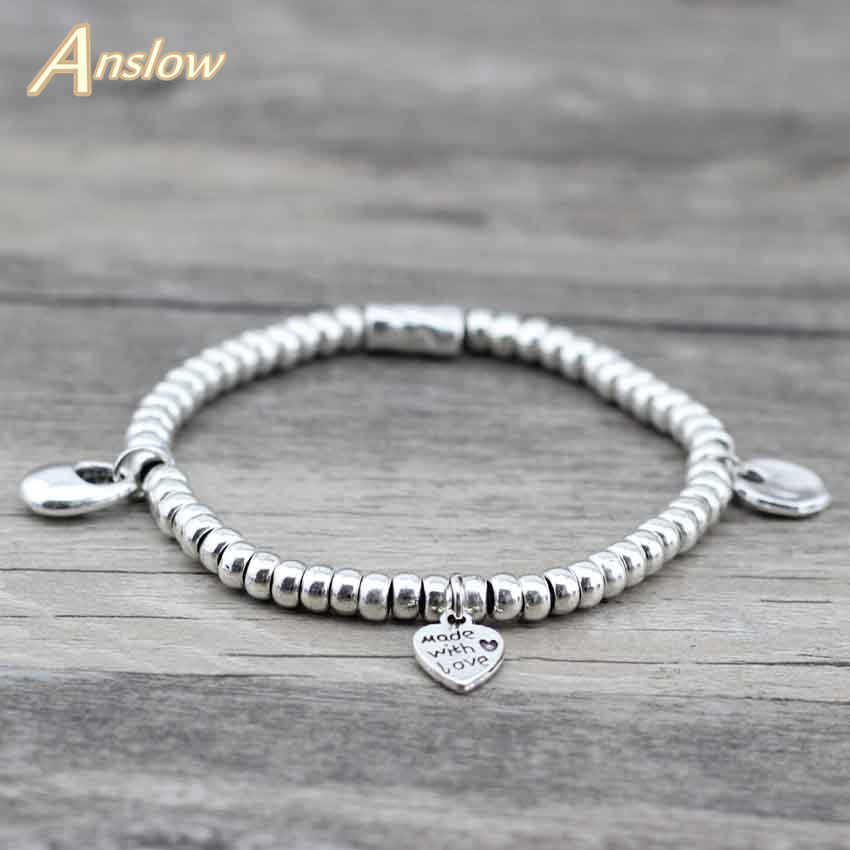 Anslow Vintage Office Beads Heart Health Zinc Alloy Beads Handmade Diy Adjustable Strand Bracelets For Women Kids Gift LOW0421LB