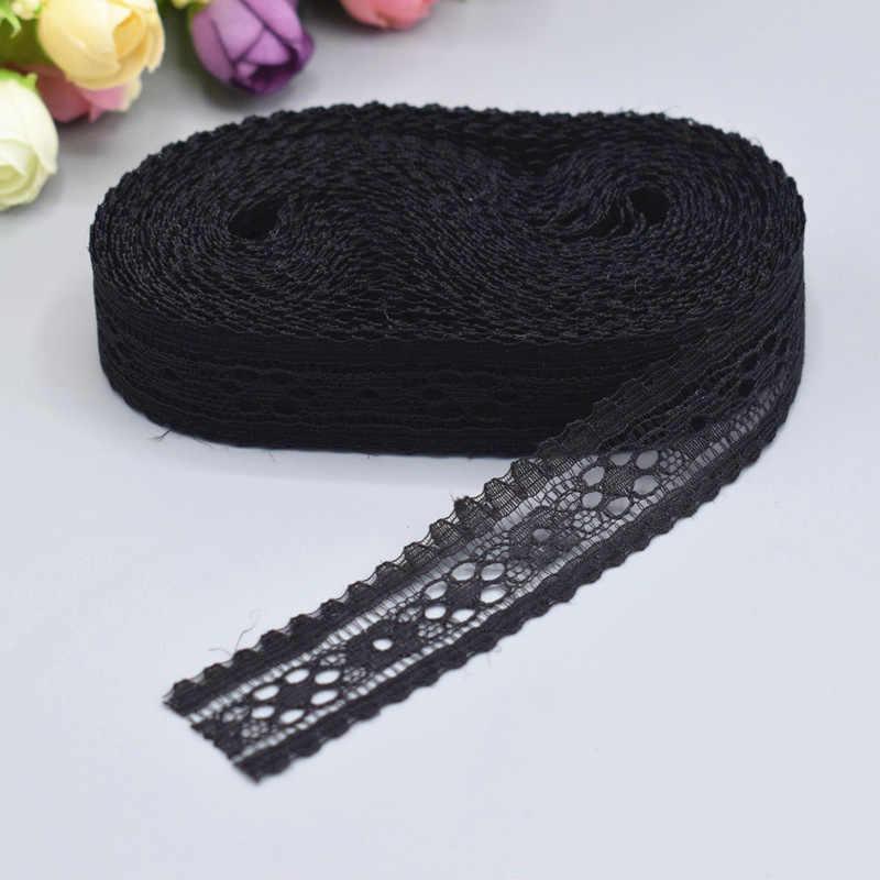 10 ярдов одежды ткани шитья и вышивки цвета слоновой кости черный отделанный хлопок вязать кружева тканые ручной работы ремесло