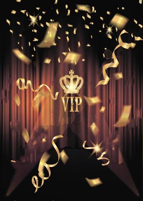 Zwart VIP Goud Confetti Crown Podium Rode Gordijnen