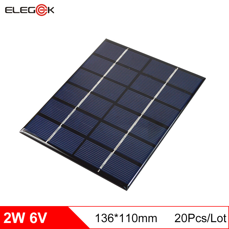 ELEGEEK 20PCS 2W 6V Epoxy Plate Solar Panel Cell Polycrystalline DIY Solar Panel Solar Module 136