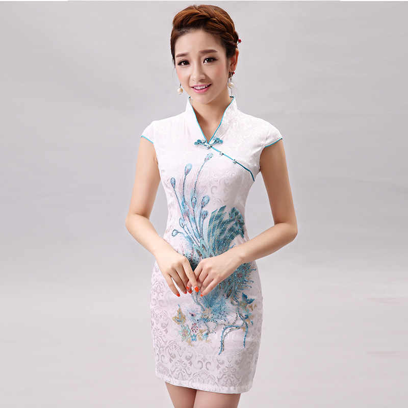 Chinese Traditional Dress Summer Style Fashion Vintage Cheongsam Qipao Elegant Short Printed Party Evening Dress Women Clothing