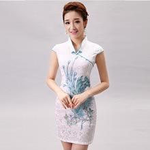 Ζεστό πωλούν τις γυναίκες Silk σατέν Vestidos Sleevless Cheongsam Γυναικεία Qipao φόρεμα κινεζική παράδοση βράδυ φόρεμα λουλούδι 8 Deisgn 18