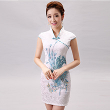 Купить с кэшбэком Hot Sell Women  Silk Satin  Vestidos Sleevless Cheongsam  Female Qipao Dress Chinese Tradition Evening Dress Flower 8 Deisgn 18