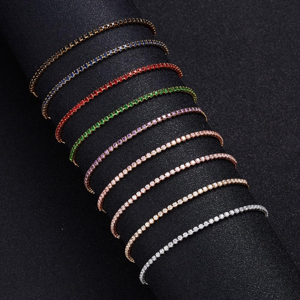 Adjustable 9 Colors Crystal Charm Bracelets For Women Fashion CZ Tennis Bracelet & Bangle Wedding Daily Jewelry Anniversary Gift