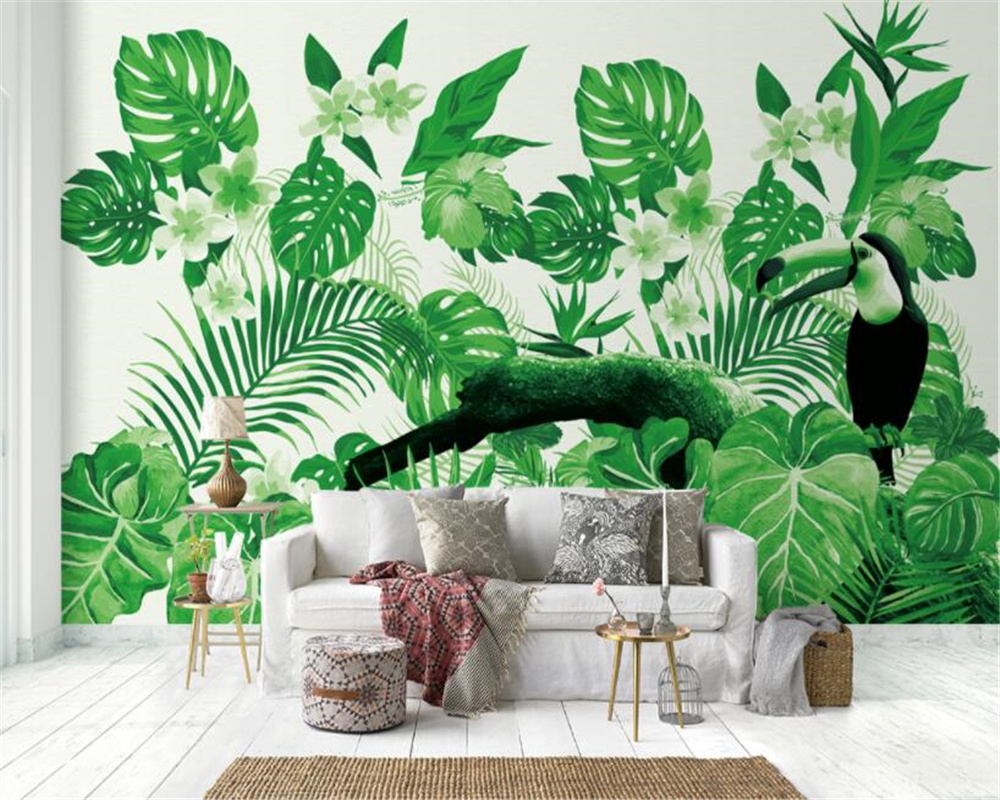 beibehang Custom silk cloth 3d wallpaper mural tropical plant parrot background wall wallpaper for walls 3 d papel de parede 3d in Wallpapers from Home Improvement