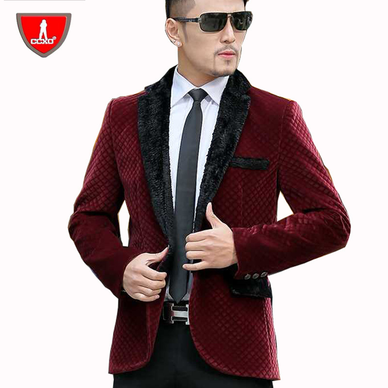 CCXO 2015 New Mens Gold Velvet Blazer Jacket Autumn Winter Wool ...