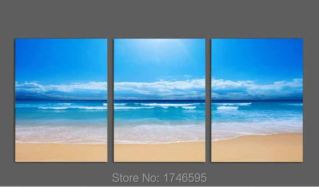 big size 3pcs modern sandy beach abstract wall art picture for