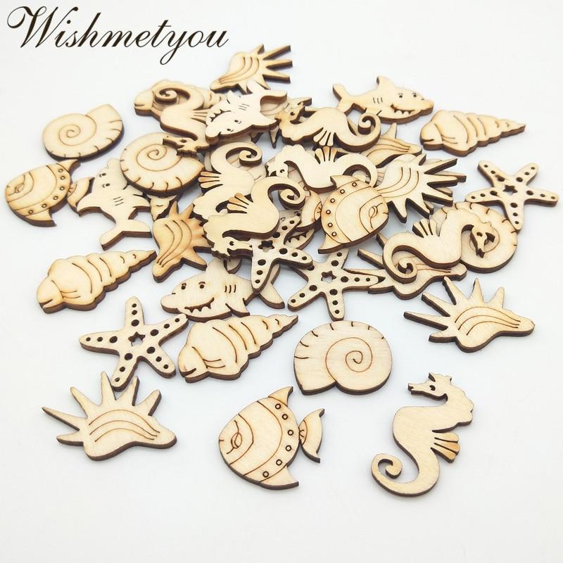 WISHMETYOU 50pcs Seashell Starfish Wooden Pattern For Embellishment Home Wood Decor Scrapbooking Mix Diy Crafts Handmade Making