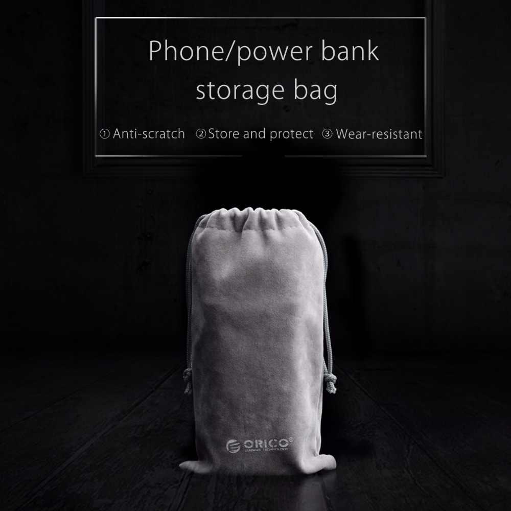 Orico Penyimpanan Telepon Beludru Tas Penyimpanan untuk Earphone/USB Charger/Kabel USB/Power Bank/Telepon dan lebih Banyak Warna Abu-abu