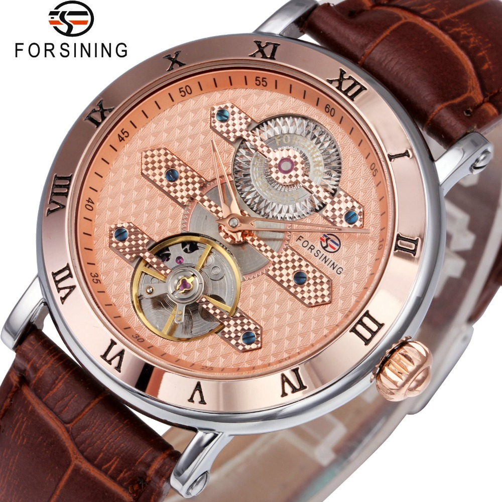 FORSINING Royal Unique Automatic Mechanical Watches Men Genuine Leather Band Roman Number Top Brand Luxury Tourbillon Wristwatch 2017 fashion forsining watches men s brand day roman number flywheel auto mechanical watch wristwatch gift free ship