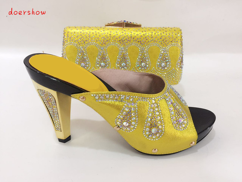 doershow Fashion Rhinestone Yellow Shoes And Bag Set Newest African Women High Heels Pumps Matching Purse For Wedding  TYS1-16 2016 spring and summer free shipping red new fashion design shoes african women print rt 3