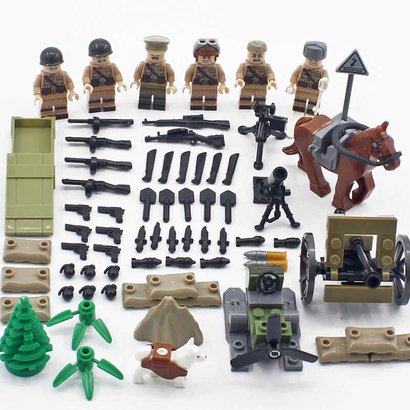 World war military brickmania minifigs building block ww2 Soviet Union horse army forces figures weapon bricks toys for gifts