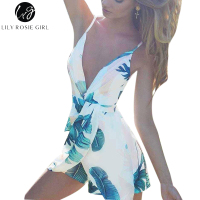 Lily Rosie Girl Sexy Lady Backless Dress V Neck Bandage Vestidos De Festa Beach Floral Print
