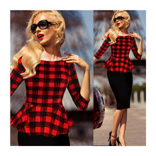 Womens Peplum Elegant Vintage Tartan Plaid Wear to Work Casual Pencil Dress