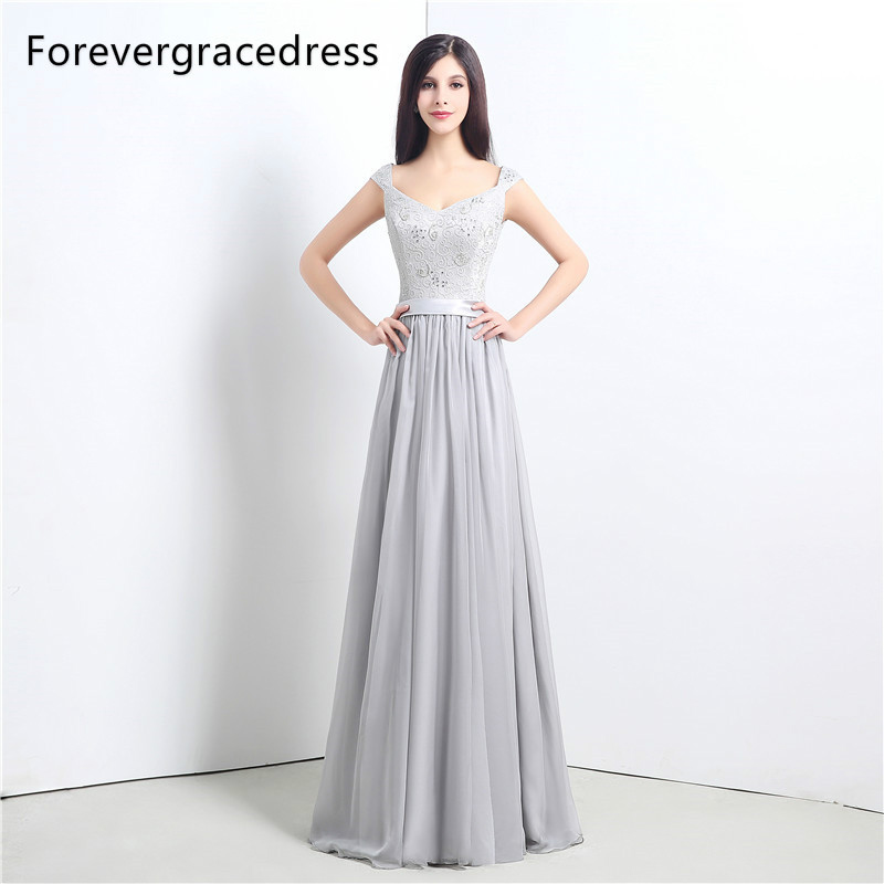 Forevergracedress High Quality Cheap Silver Bridesmaid Dress New Arrival Long Lace Chiffon Wedding Party Gown Plus Size