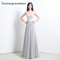 Forevergracedress High Quality Cheap Silver Bridesmaid Dress New Arrival Long Lace Chiffon Wedding Party Dress Plus