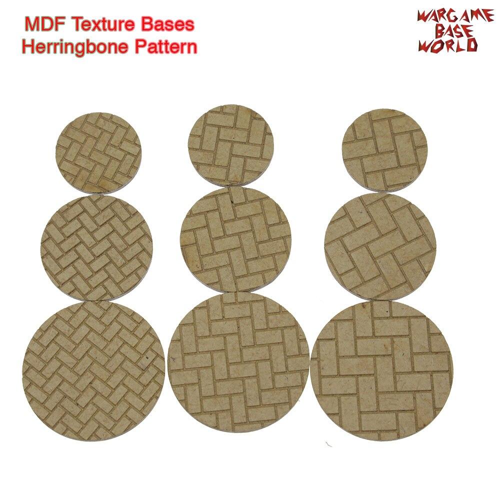 MDF Texture Bases - 25mm - 40mm Round Herringbone Pattern Bricks Texture Bases - Laser Cut