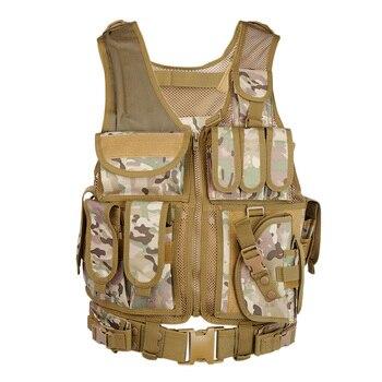 Chaleco táctico militar del ejército de Airsoft Molle Chaleco de combate Chaleco de caza con funda Paintball Shooting caza Molle chaleco