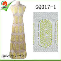 2017 GQ017 Queency Curious Raw Silk Embroidery George African Fabric Wholesale From India For 5 Yards