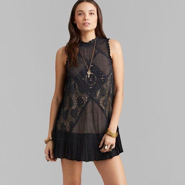 $ US $35.99 Jastie 2019 Summer Angel Lace Dress Sleeveless Party Mini Dresses Boho Chic Raw Edge Pleated Dress Women Clothing 2019 Vestidos