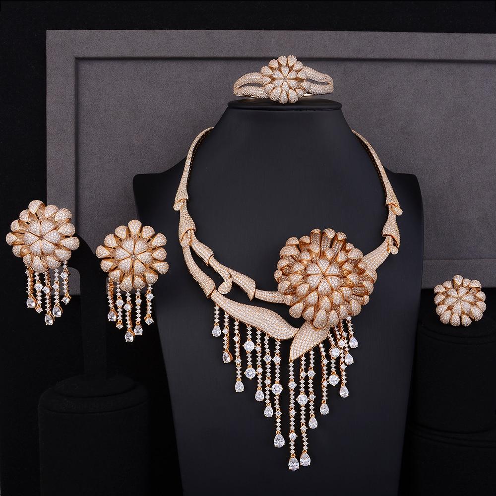 Grand chrysanthème fleur Performance Occasion collier Bracelet boucle d'oreille bague ensembles de bijoux zircone cubique pour les femmes de mariage