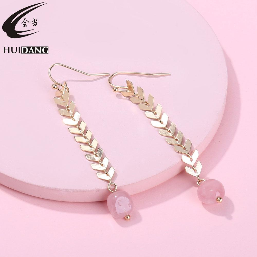 HUIDANG Gold Plating Copper Chevron Chain Natural Stone Drop Dangle Long Earring for Women gold earrings for women