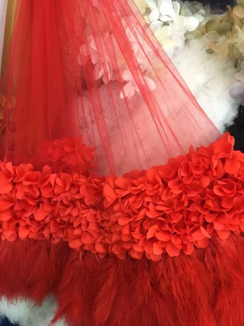 1 yard red 3d fabric wedding dress with ostrich feather wedding 1 yard red 3d fabric wedding dress with ostrich feather wedding decoration sdf028 junglespirit Choice Image