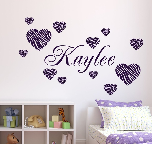 Zebra Striped Hearts DIY Personalized Name Wall Sticker Fashion Wall ...