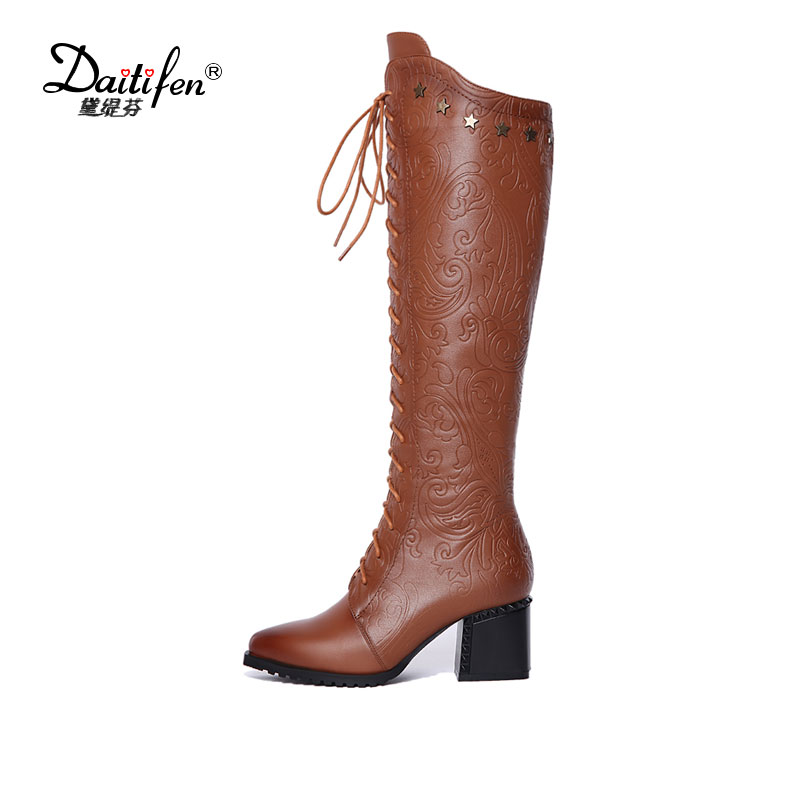 все цены на Daitifen New Genuine Leather Womens Knee High Equestrian Riding Boots zipper Pointed Toe Long Boots Chunky Heel Winter Shoes