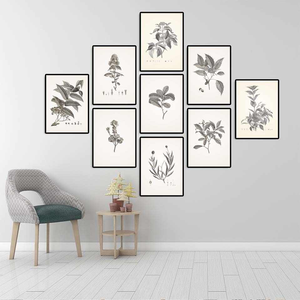 Dekorasi Rumah Gambar Cetak Kanvas Dinding Seni Poster Paitings Retro Sketsa Daun Tanaman Seri 5 Krem Dan Abu Abu Lukisan Aliexpress