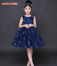 Elegant Children Kids Baby Girls Dress Stars Sequins Tulle Bow Toddler Tutu One Piece Dress Wedding Birthday Dresses