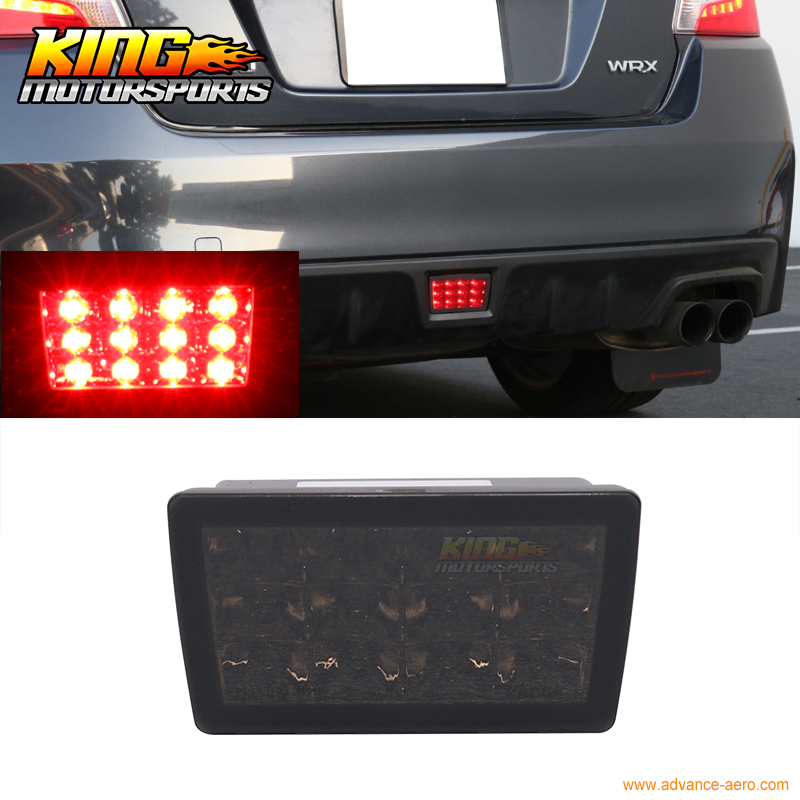 US $50 34 |Fits 11 16 Subaru WRX STI XV F1 Style LED Rear Fog Light Strobe  Flasher 3rd Brake Light Lamp Smoked Lens-in Car Light Assembly from