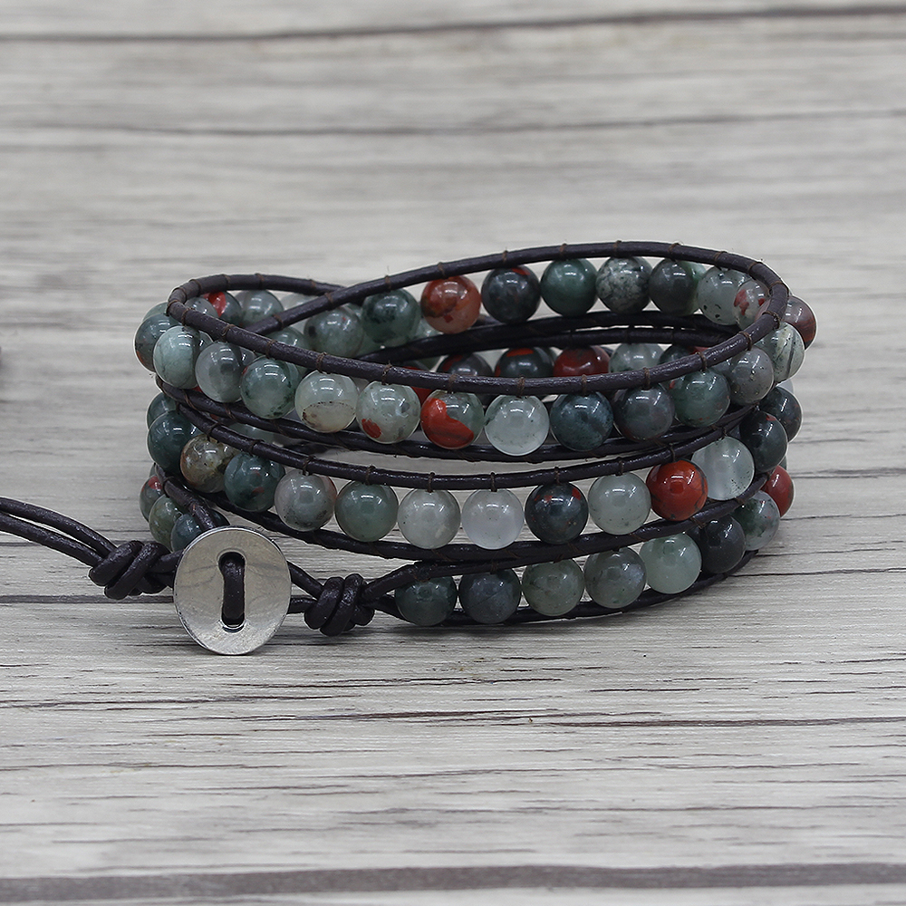 Gyspy wrap bracelet African bloodstone beads bracelet multi colors wraps bracelet leather boho beads dropshipping friendship