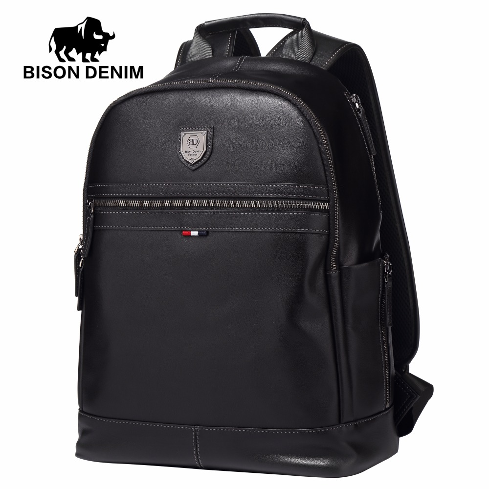 BISON DENIM Fashion Business Backpack 15.6 Laptop Genuine Leather Backpacks with USB charging Travel Male Backpack N2579-1B frank buytendijk dealing with dilemmas where business analytics fall short