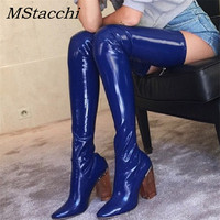 MStacchi Sexy Clear Chunky High heels Over The Knee Boots Women Patent Leather Blue back Stretch sock Thigh High Boots For Women