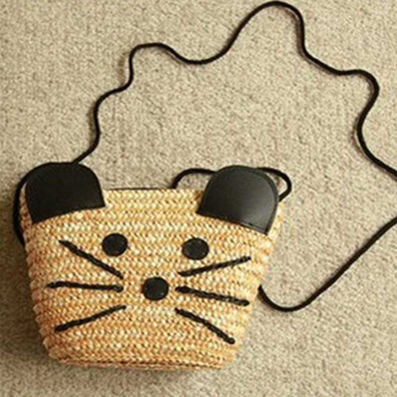 New Ladies Shopping Bags Cute mouse handmade Straw weave Summer Beach Shoulder Bag Straw women Girls Grass Casual Totes