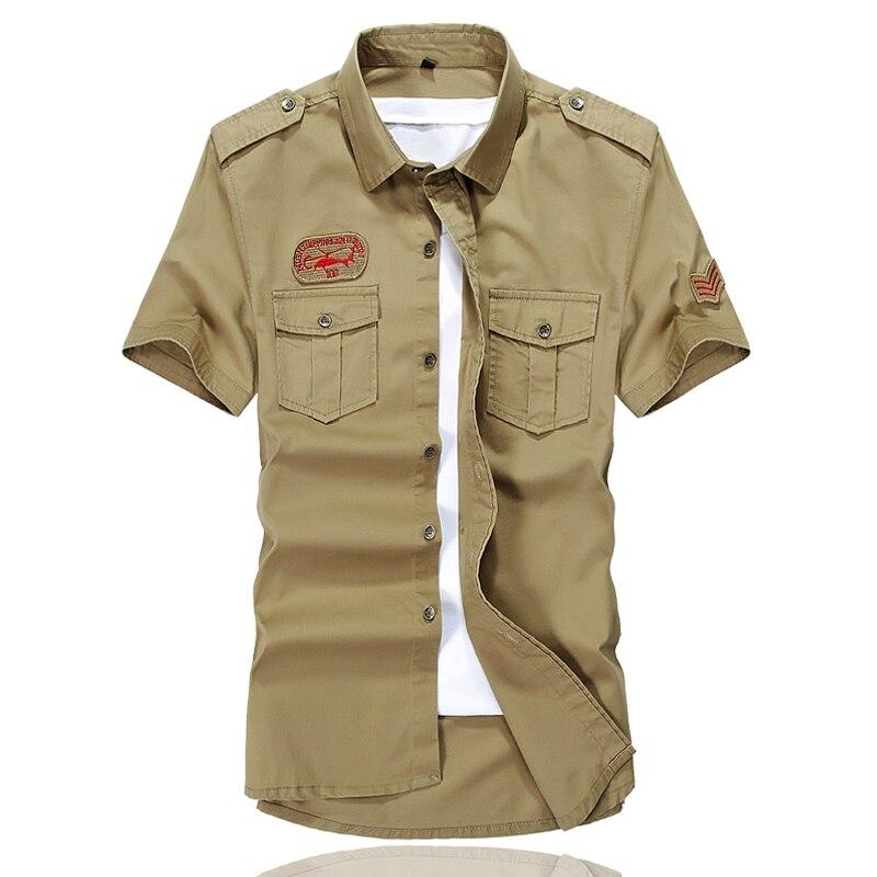 Marke sommer männer military männer kurzarm freizeithemd mens social clothing chemise homme camisa masculina 4xl