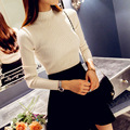 Women New Autumn sweater high elastic Solid color Turtleneck sweater female slim sexy tight Bottoming Knitted Pullovers MZ977