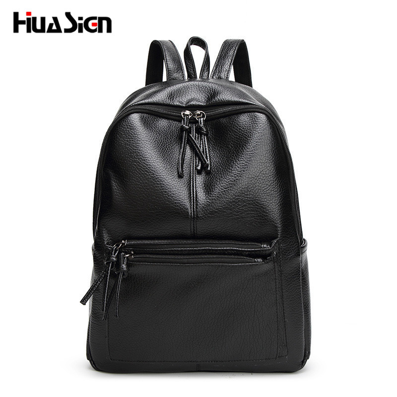 Huasign New Travel Backpack Korean Women Backpack Leisure Student Schoolbag Soft PU Leather Women Bag new travel backpack korean women female rucksack leisure student school bag soft pu leather women bag