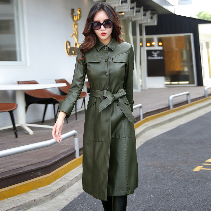 Long Leather Jacket Women Fashion Coat Female M-5XL Plus Size Turn Collar Single Covered Button Outerwear Black Red Army Green leather jacket