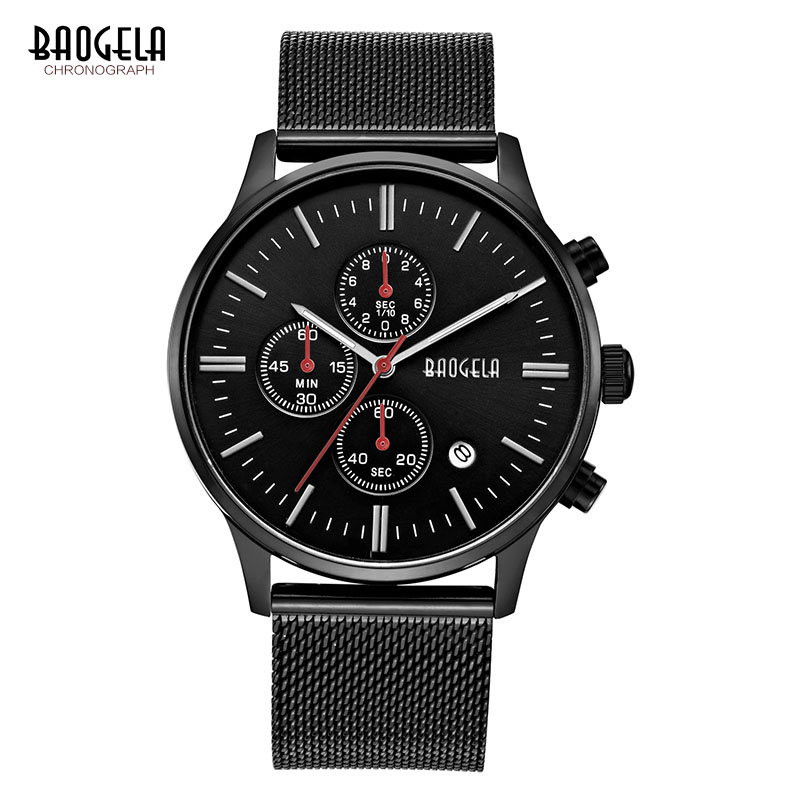 BAOGELA Chronograph Black New Watches Mens Quartz Watch Stainless Steel Mesh Band Slim Men Gold Watch Student Sports Wristwatch