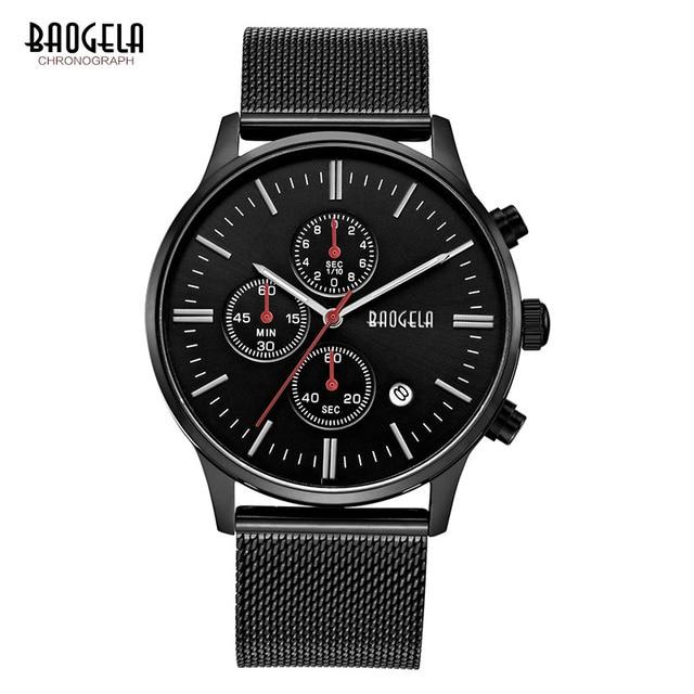 Baogela хронограф черный Новые часы Мужские кварцевые часы из нержавеющей стали сетки Группа Тонкий Мужские золотистые часы студент спортивные наручные часы