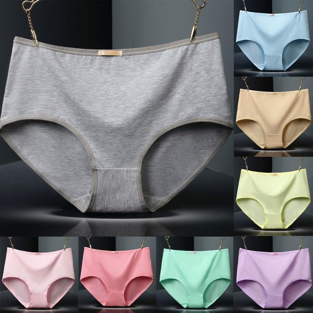 Buy Womens Plus Size Panties Cotton Polyester Middle-Rise Abdomen Underpants Solid Color Comfortable Lingerie Briefs 2XL/3XL